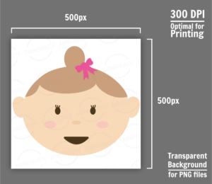 Cute Baby Girl Face Clipart
