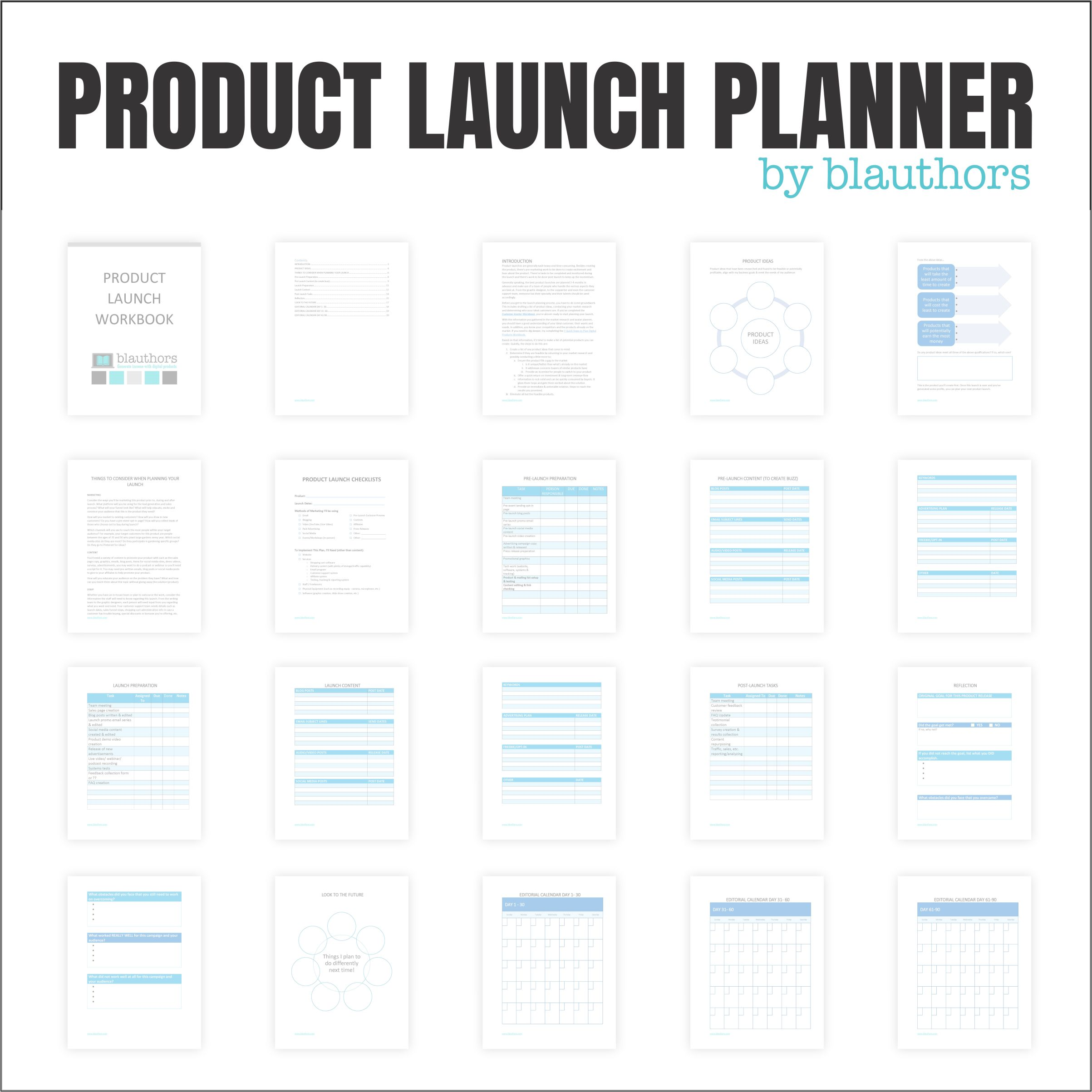 Product launches can be so task-heavy and time-consuming. They can make you feel like you have no clue where to start.  This Product Launch Workbook walks you step by step through the process to complete an efficient product launch.  By completing the workbook pages, you will learn as you go how to launch your product.